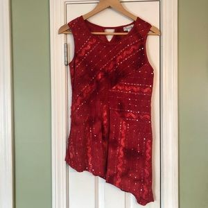 Dress Barn Asymmetrical Embellished Sequin Tank
